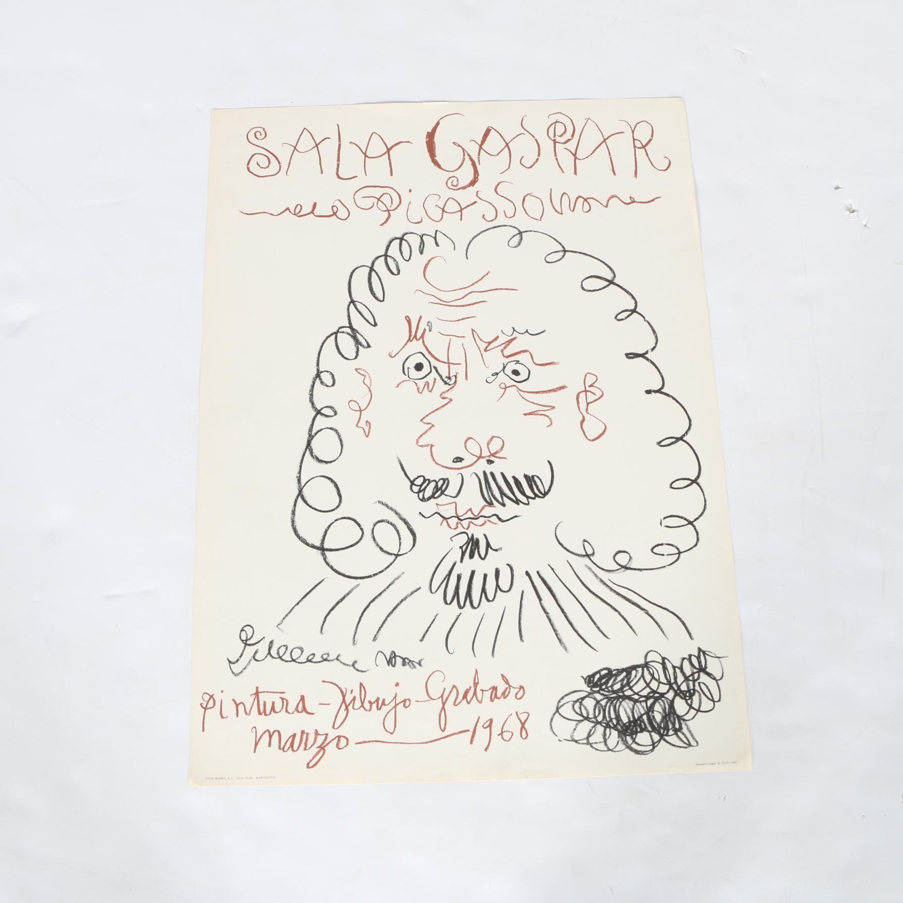 """1968 Pablo Picasso Exhibition """"Sala Gaspar"""" Halftone Reproduction Print"""