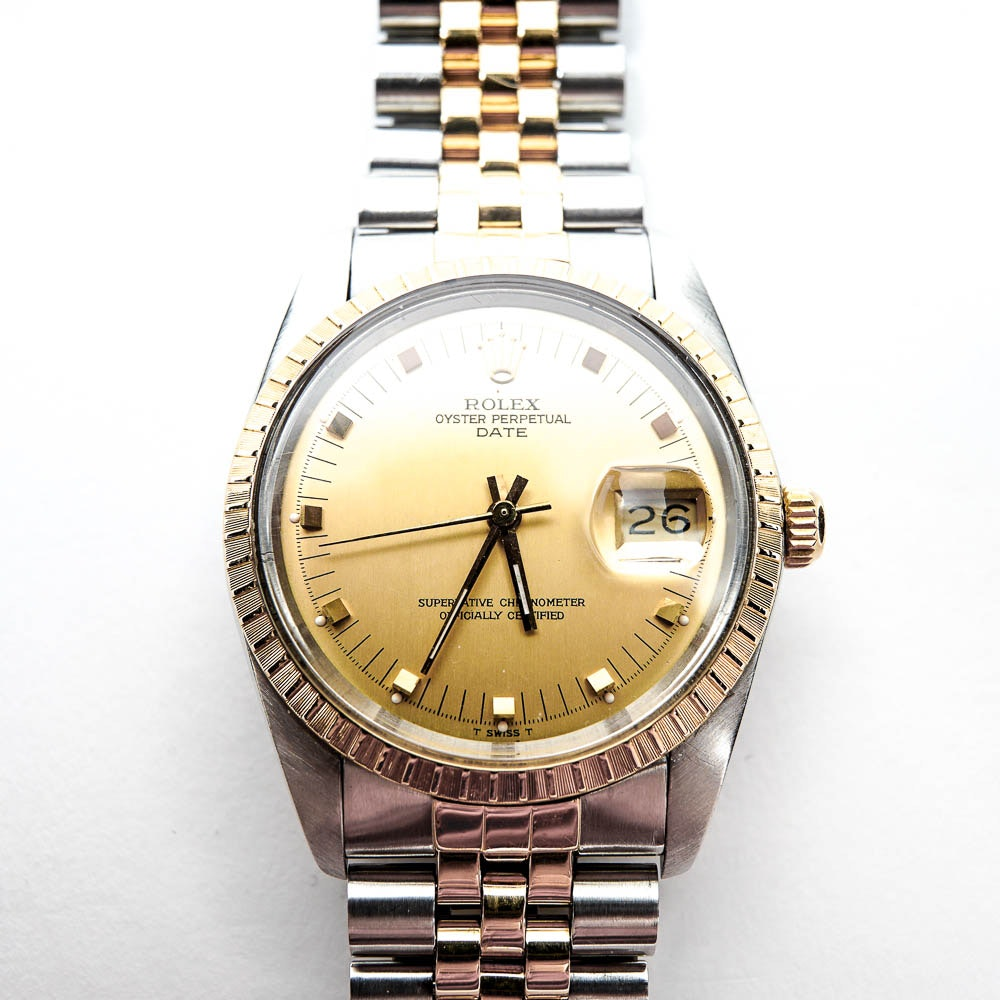 18K Yellow Gold and Stainless Steel Rolex Oyster Perpetual Date Two-Tone Automatic Wristwatch