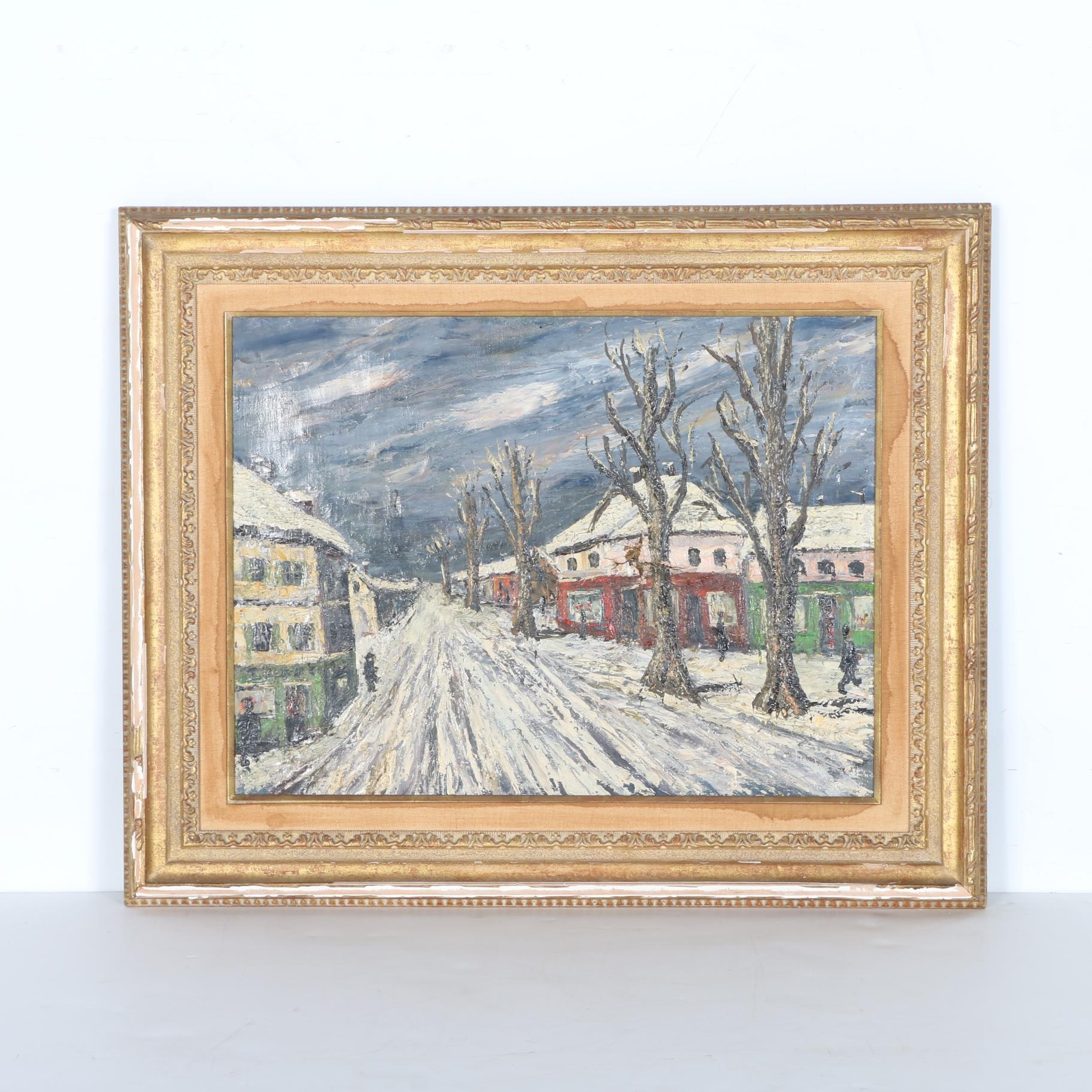Original Oil on Canvas Painting of Winter Scene