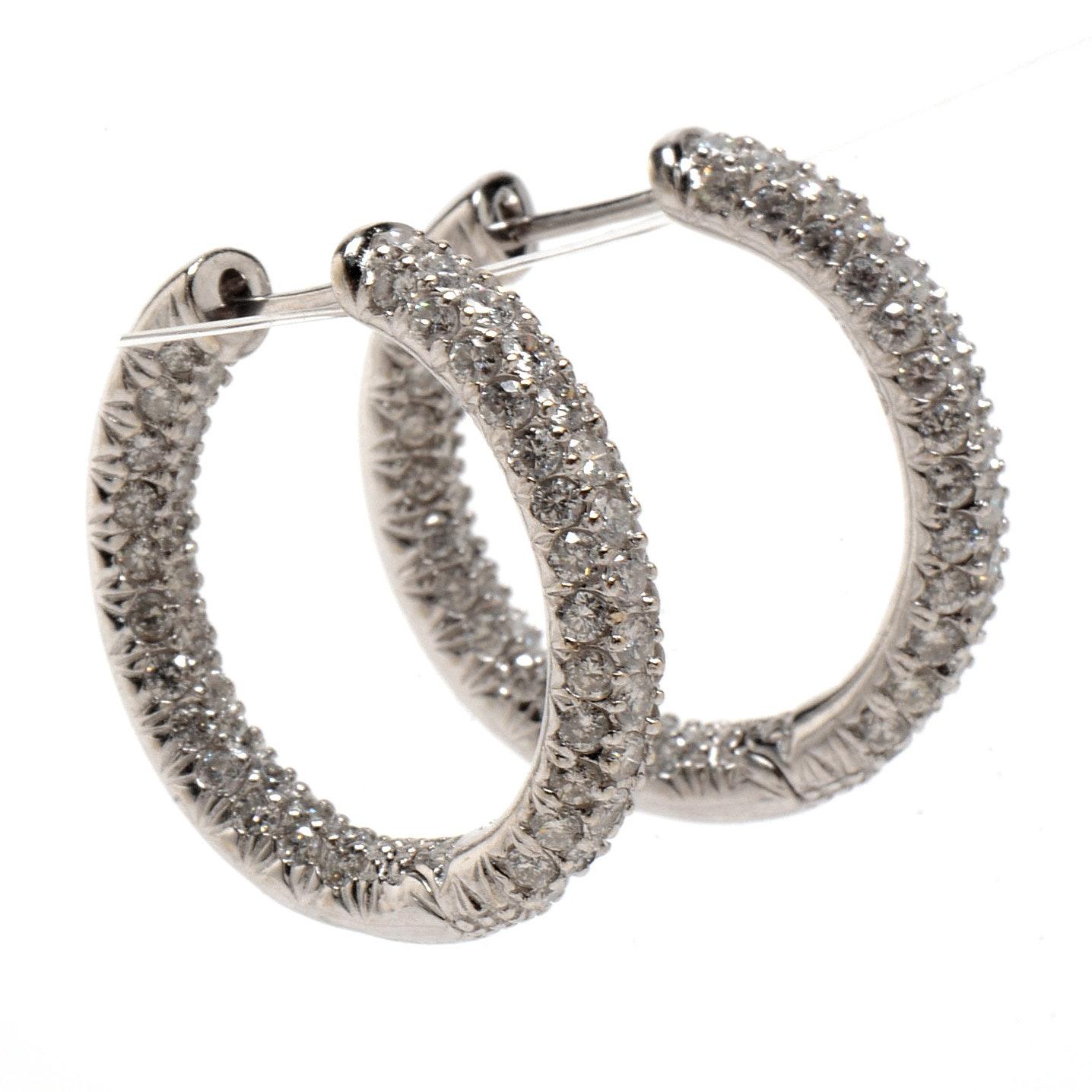 Pair of 18K White Gold 3.29 CTW Diamond Hoop Earrings