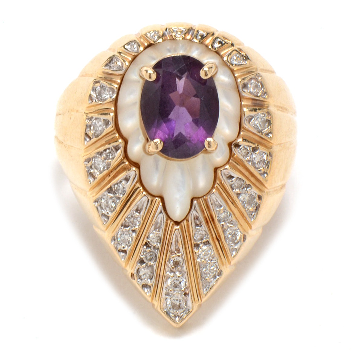 Erté 14K Yellow Gold Amethyst, Mother of Pearl and Diamond Ring