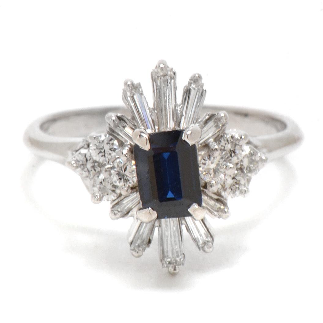 18K White Gold Natural Blue Sapphire Diamond Fashion Ring