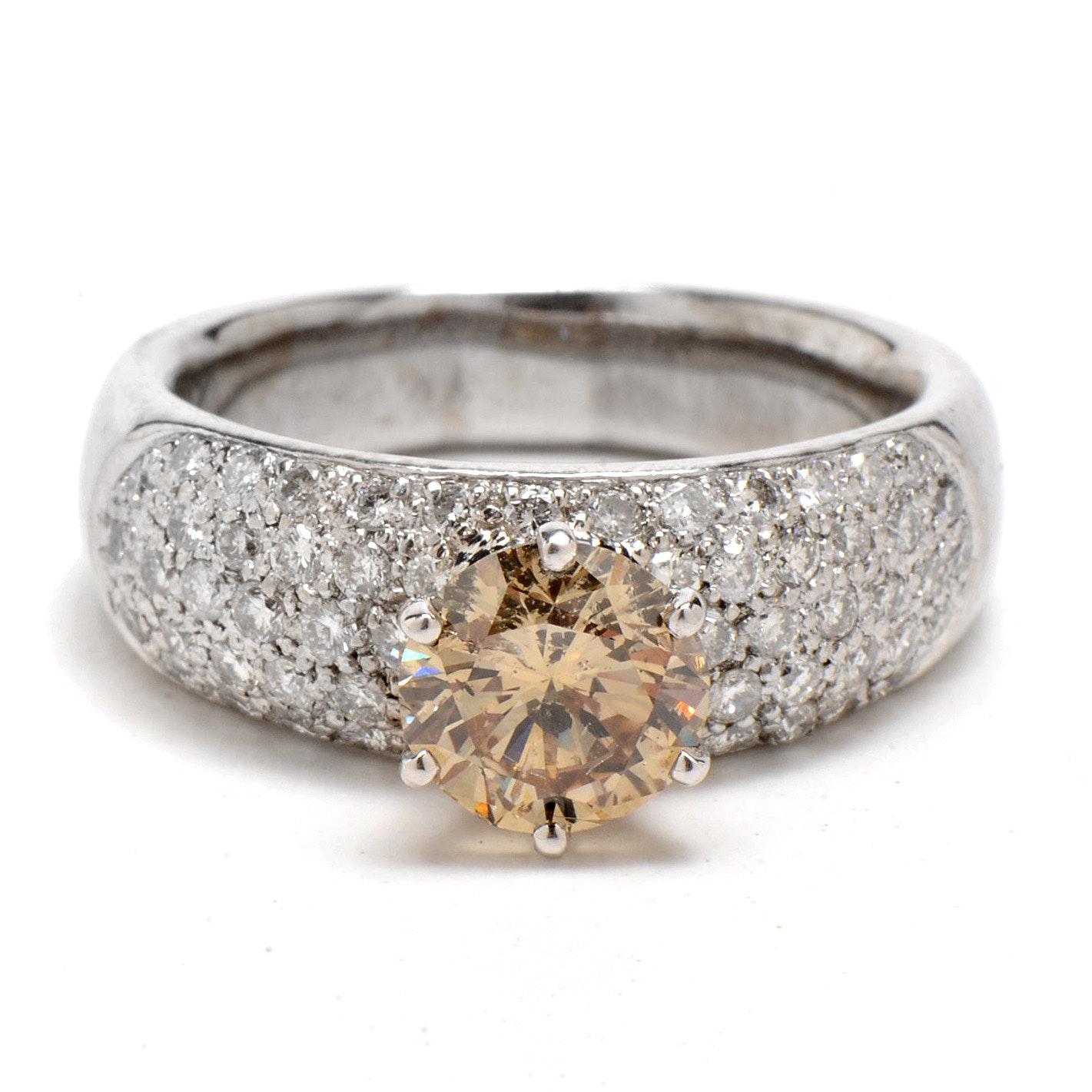 18K White Gold 1.71 CTS Light Brown Diamond Statement Ring