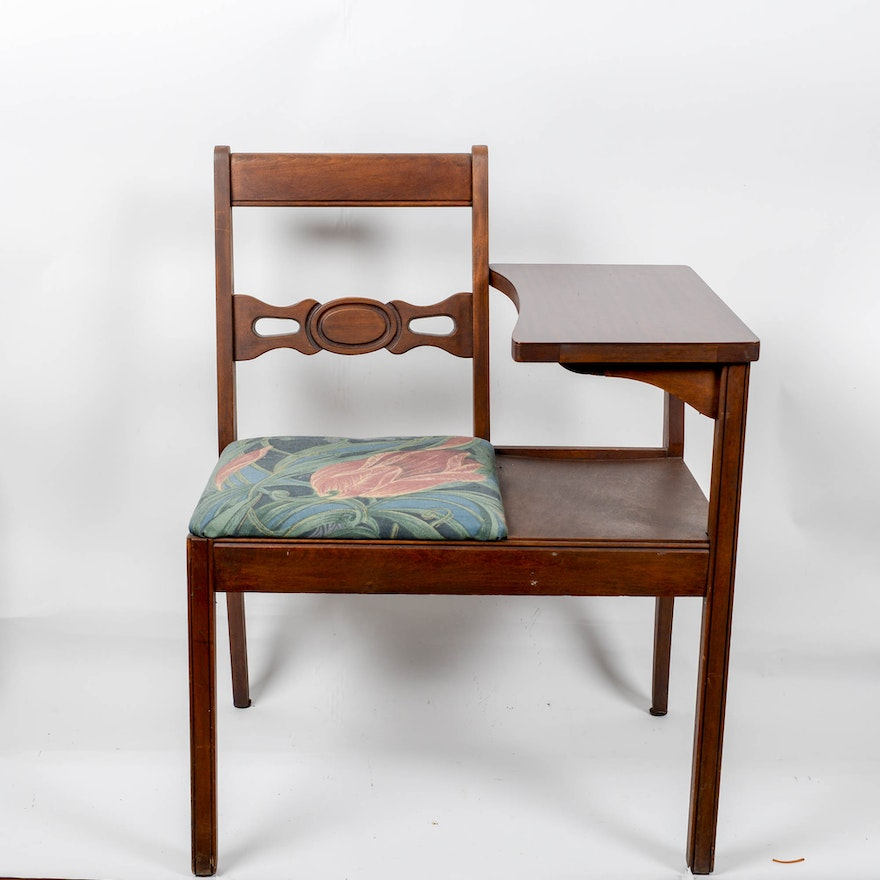 Vintage Telephone Table With Attached Chair ... - Vintage Telephone Table With Attached Chair : EBTH