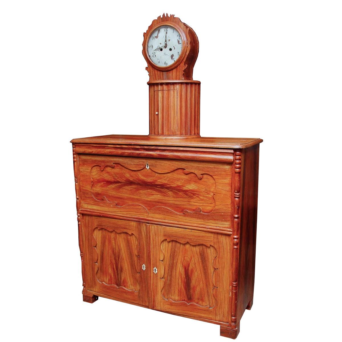 Antique Swedish Mora Clock Over Secretary Cabinet