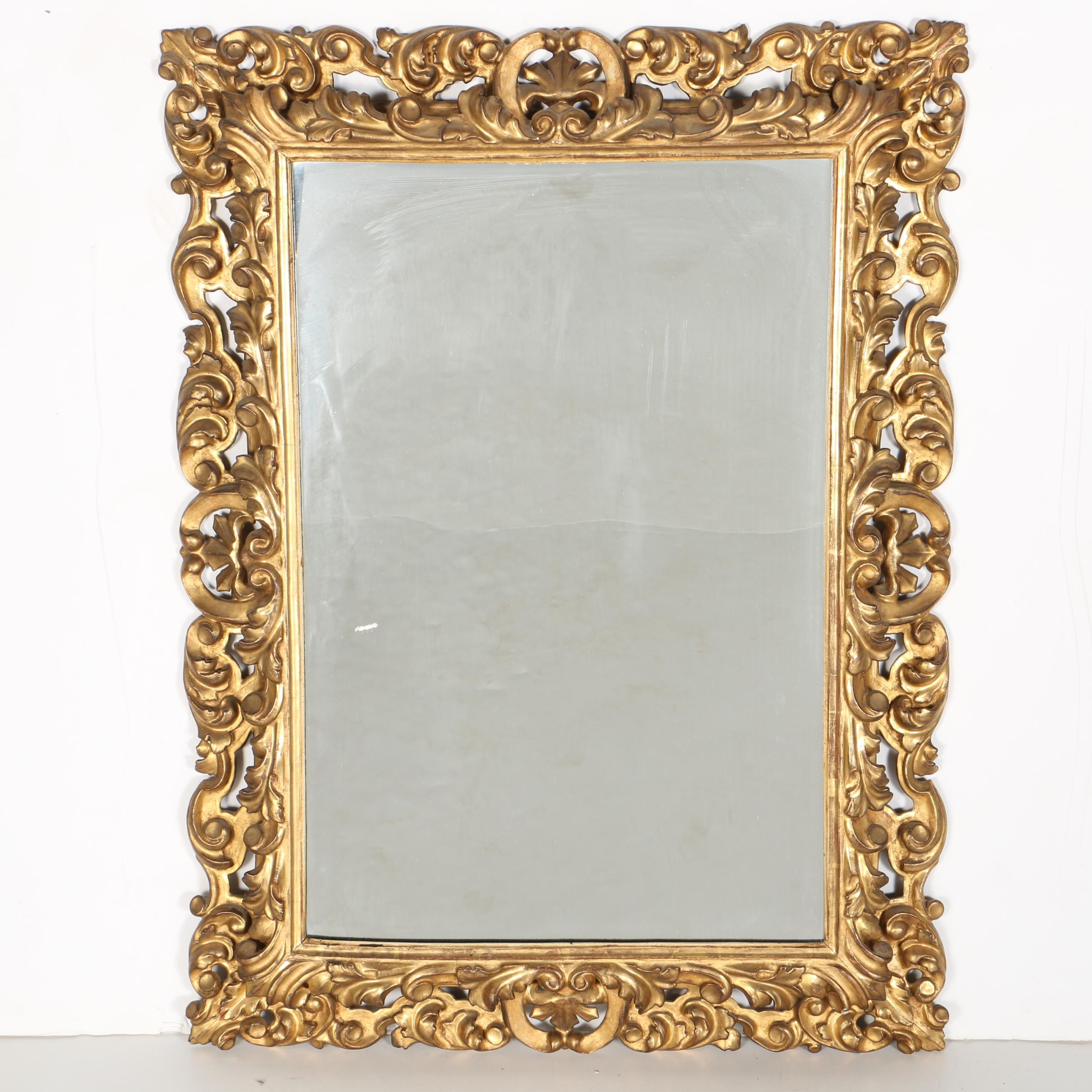 Ornate Wood and Gesso Mirror