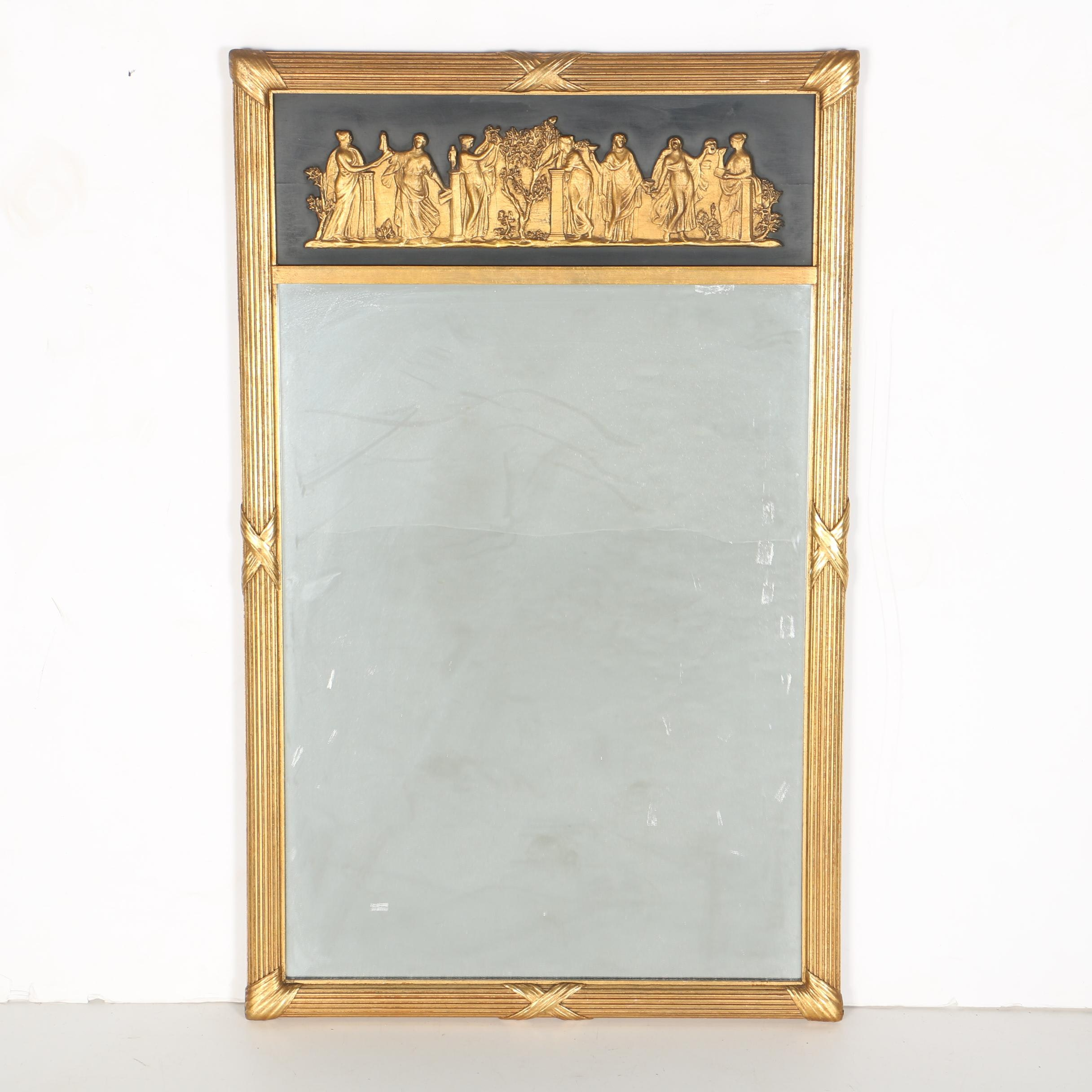 Gilt Framed Mirror with Classical Grecian Figures Relief