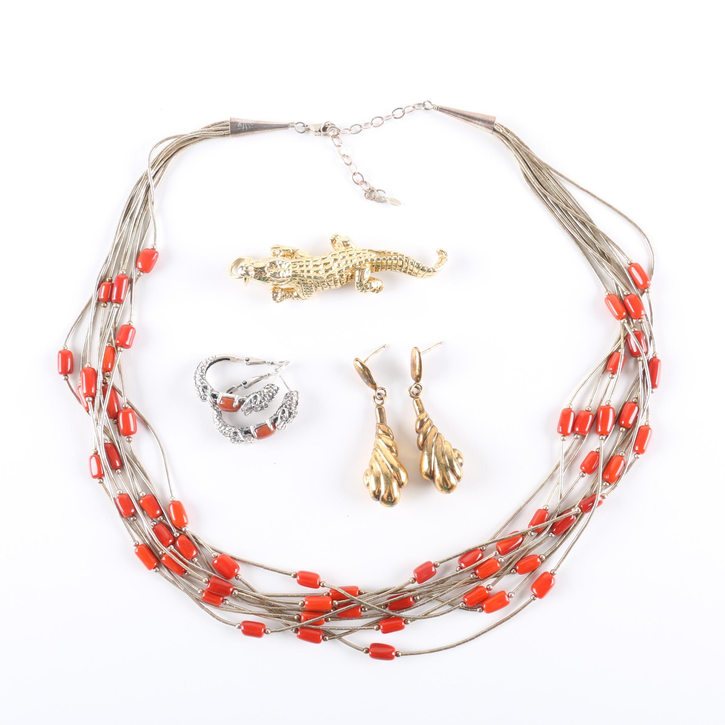 Sterling Silver and Dyed Coral Jewelry