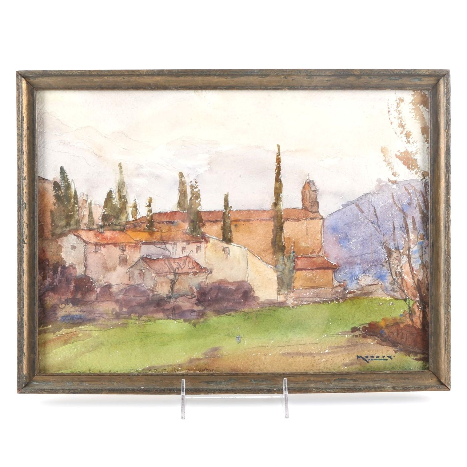 Raoul Monory Original Watercolor of French Countryside