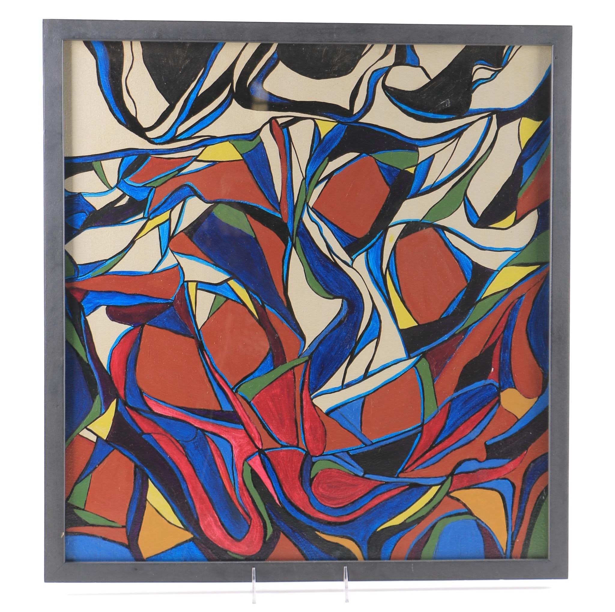 Original Oil on Canvas Abstract Attributed to Dorothy Schiller