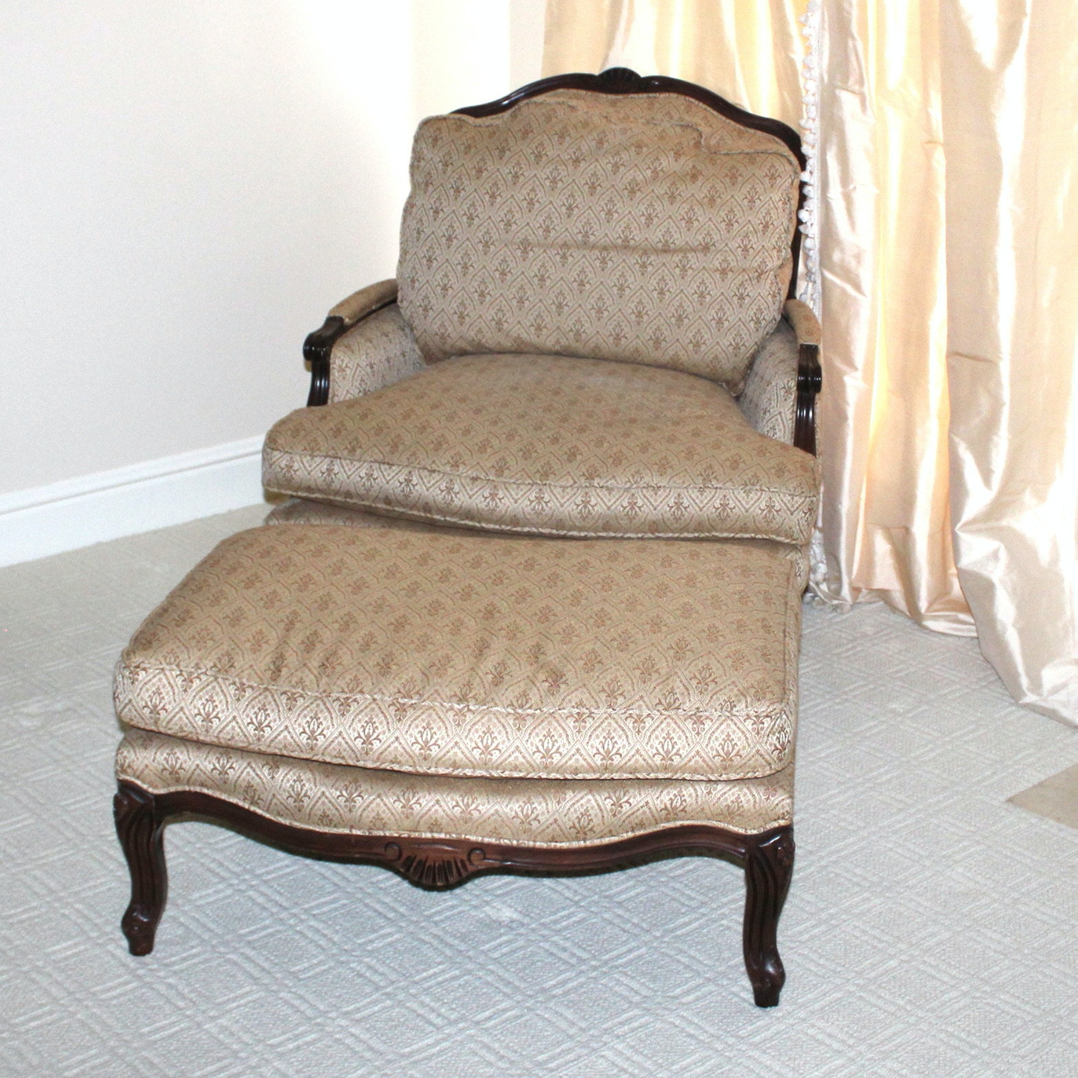 French Country Style Chair and Ottoman
