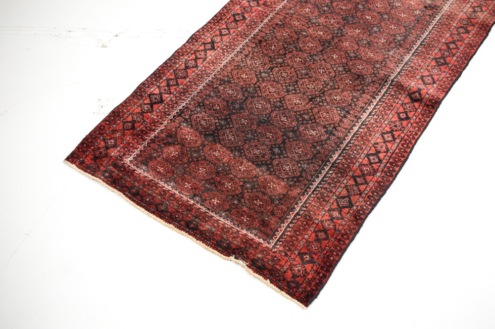 Hand Knotted Semi Antique Persian Turkman Serapi Area Rug
