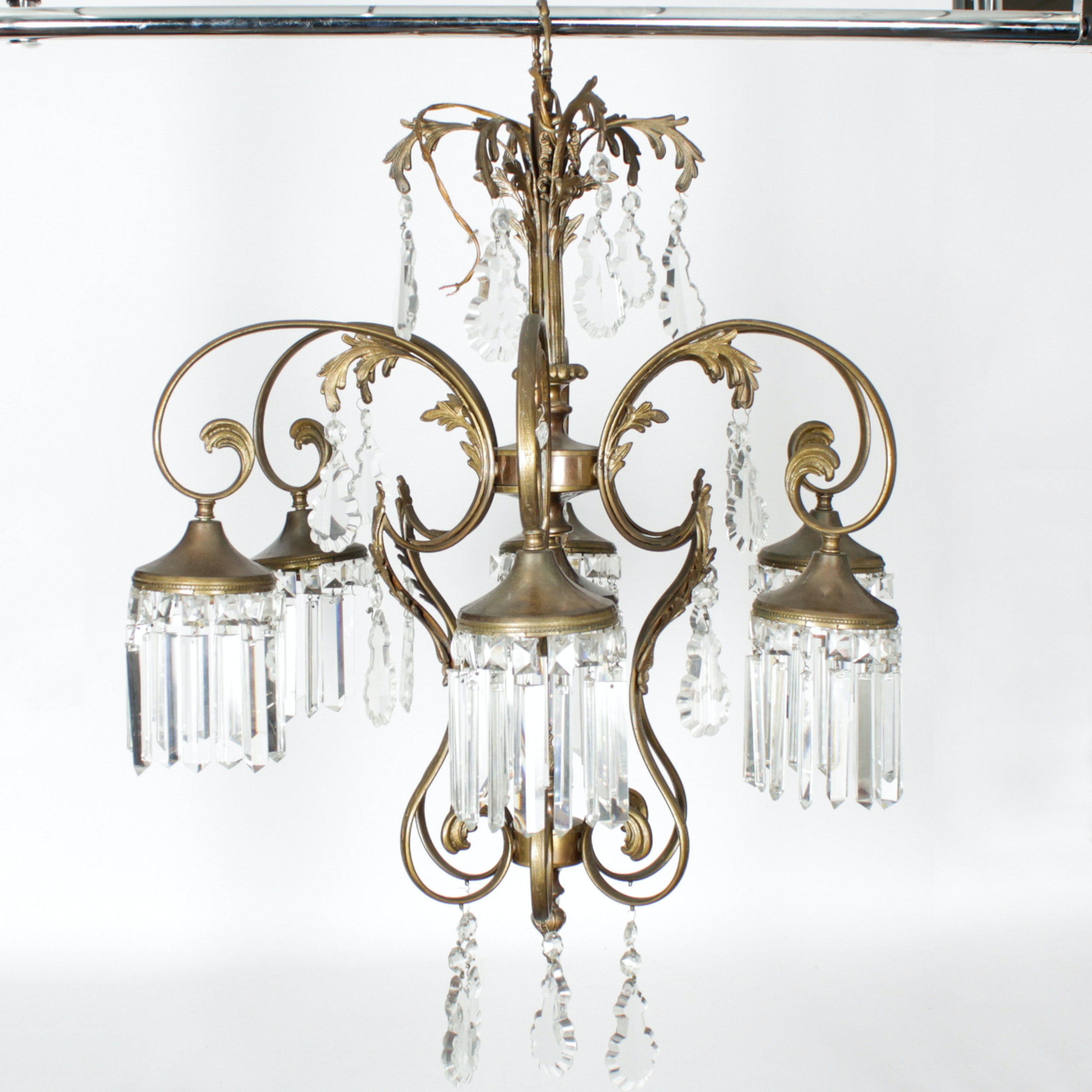 Brass and Glass Pendant Foliated Chandelier