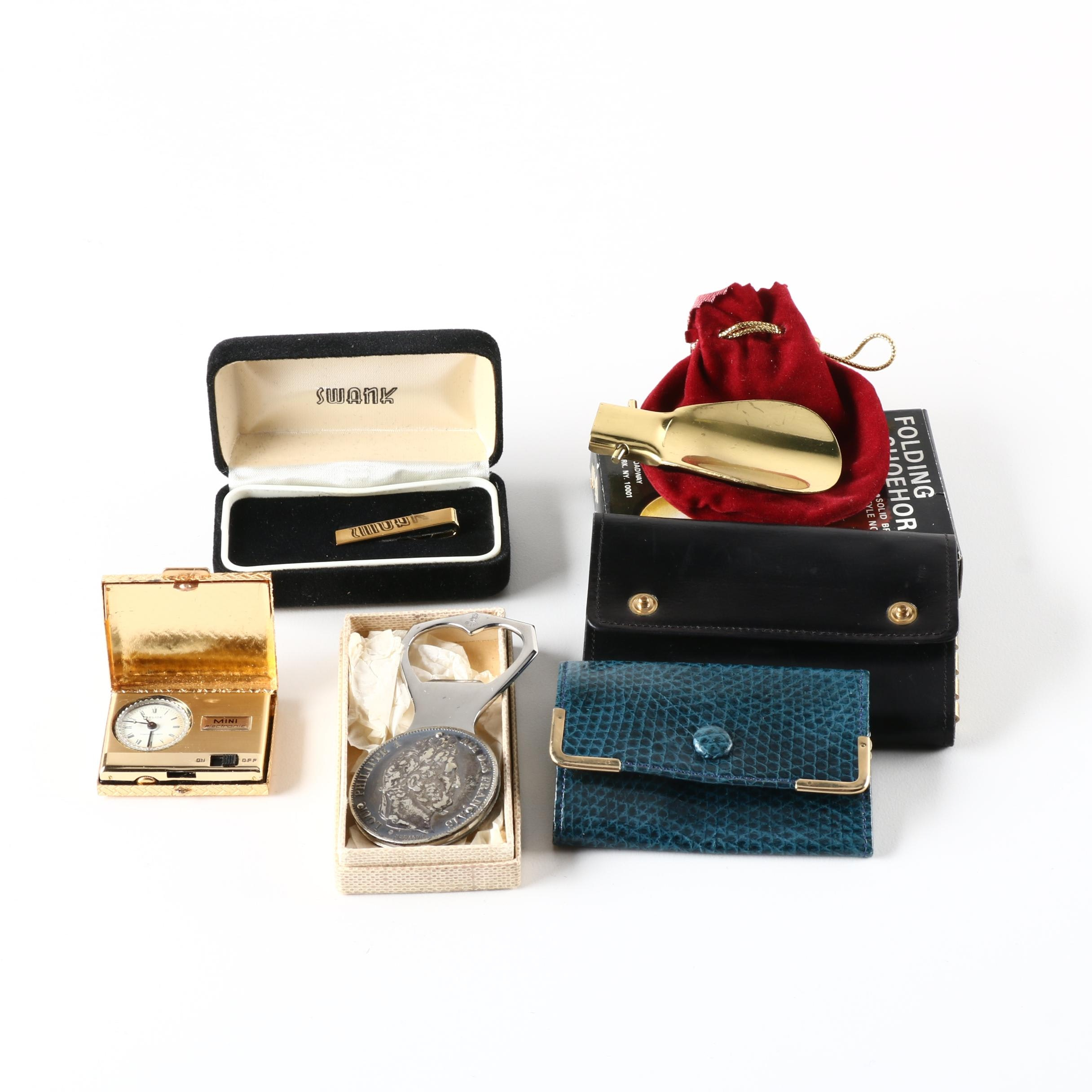 Group of Men's Gifts Including Tie Clip, Key Wallet and Coin Medallion Bottle Opener