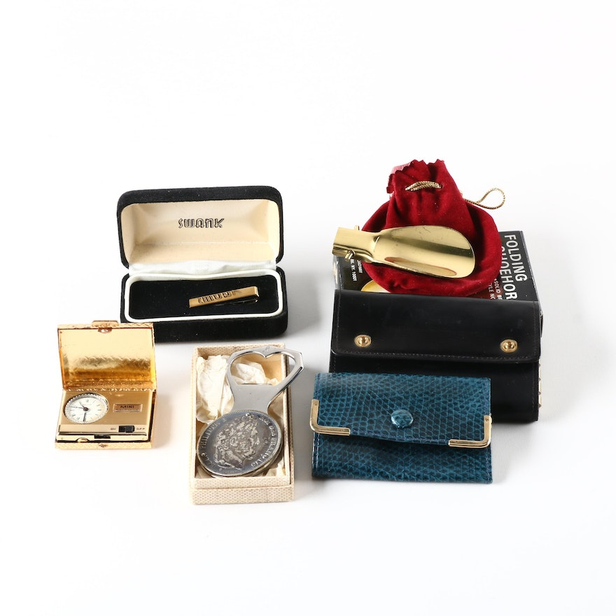 2e93c7b9e634 Group of Men's Gifts Including Tie Clip, Key Wallet and Coin Medallion  Bottle Opener ...