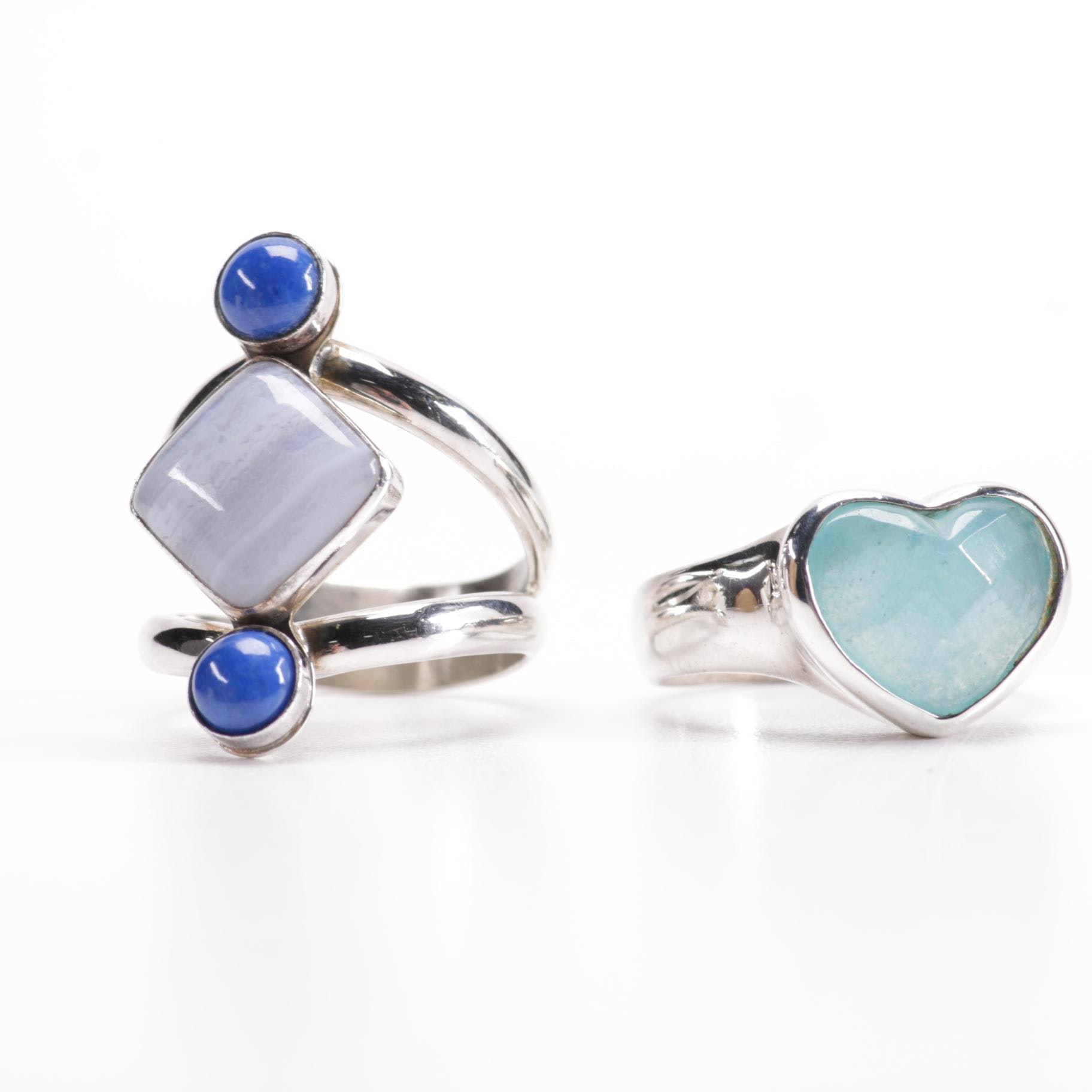 Sterling and Stone Rings
