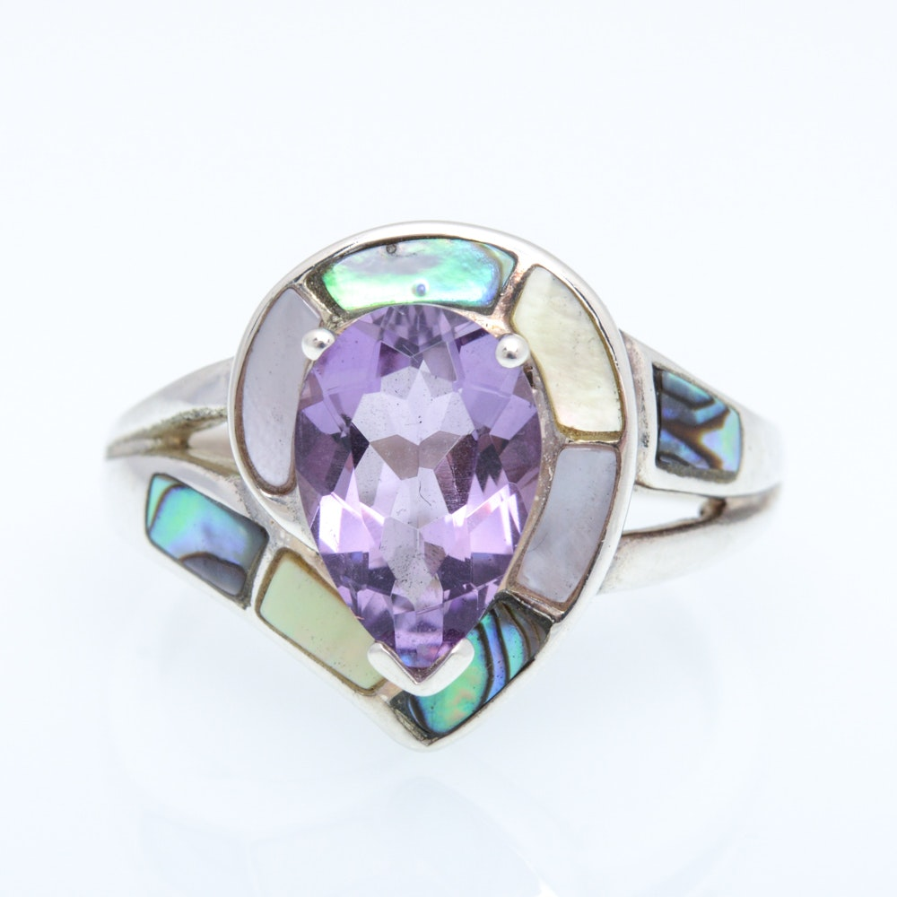 sterling silver amethyst and of pearl ring ebth