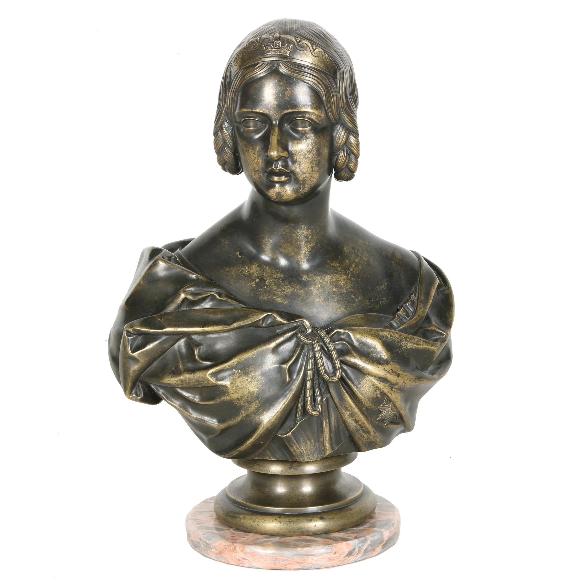 1849 Bronze Bust After Francis Chantrey of a Young Queen Victoria