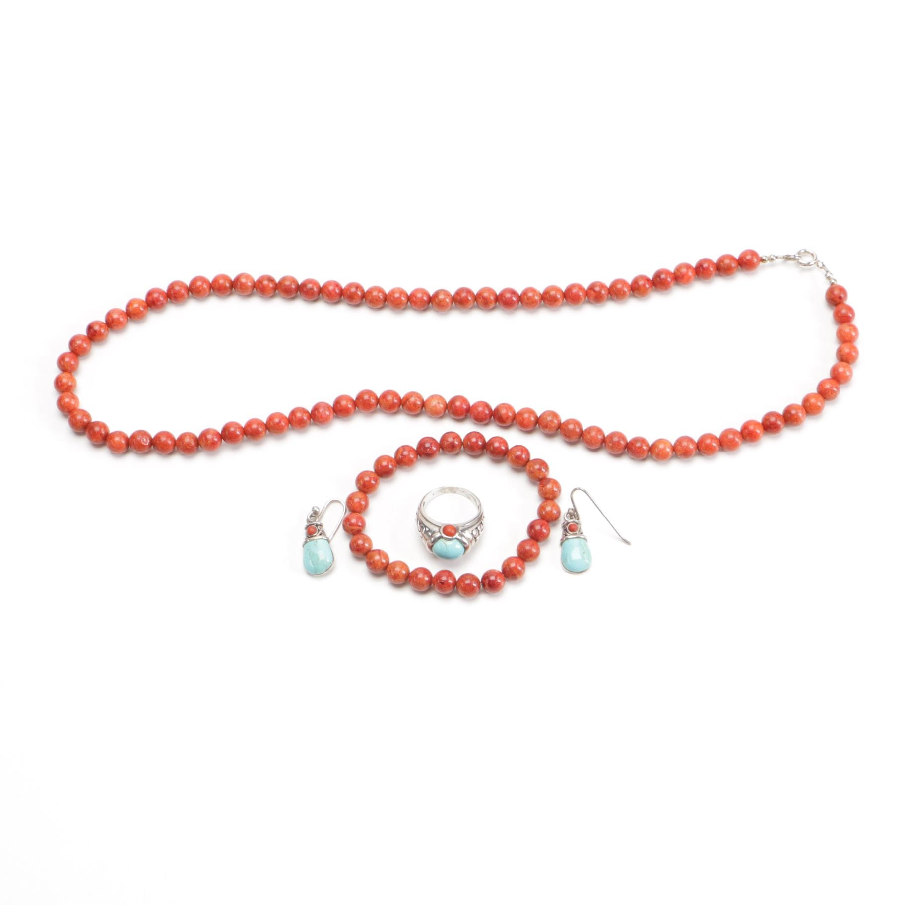 Sterling, Coral, and Howlite Parure