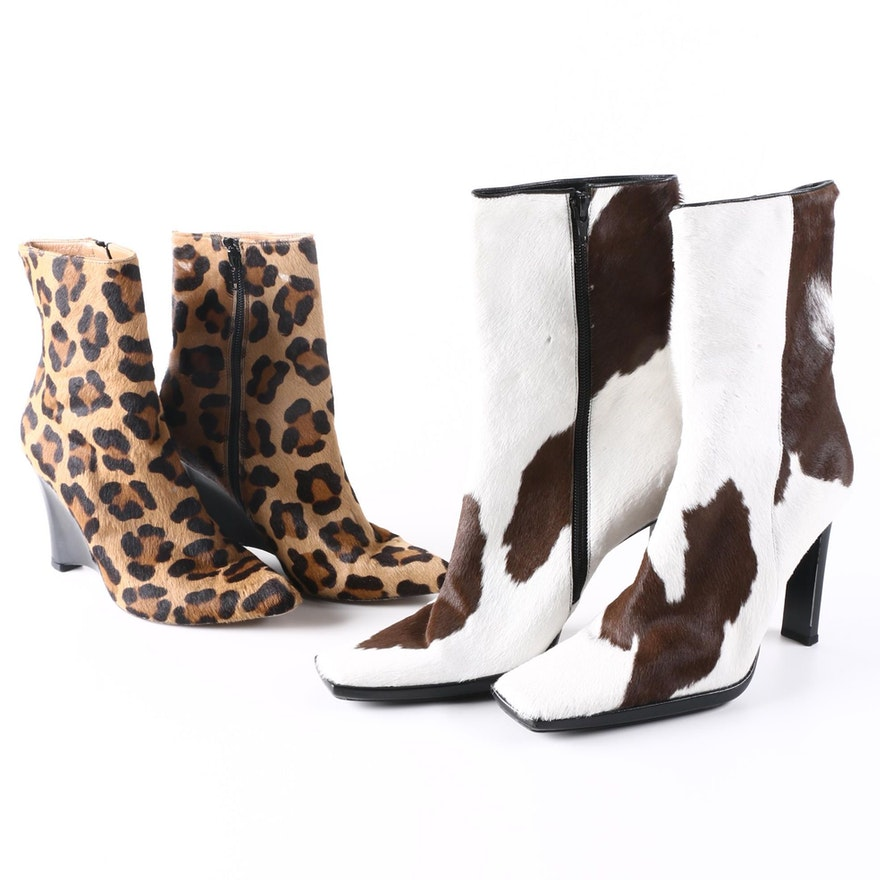 8f06602211f2 Stuart Weitzman and Casadei Animal Print Pony Hair Booties : EBTH