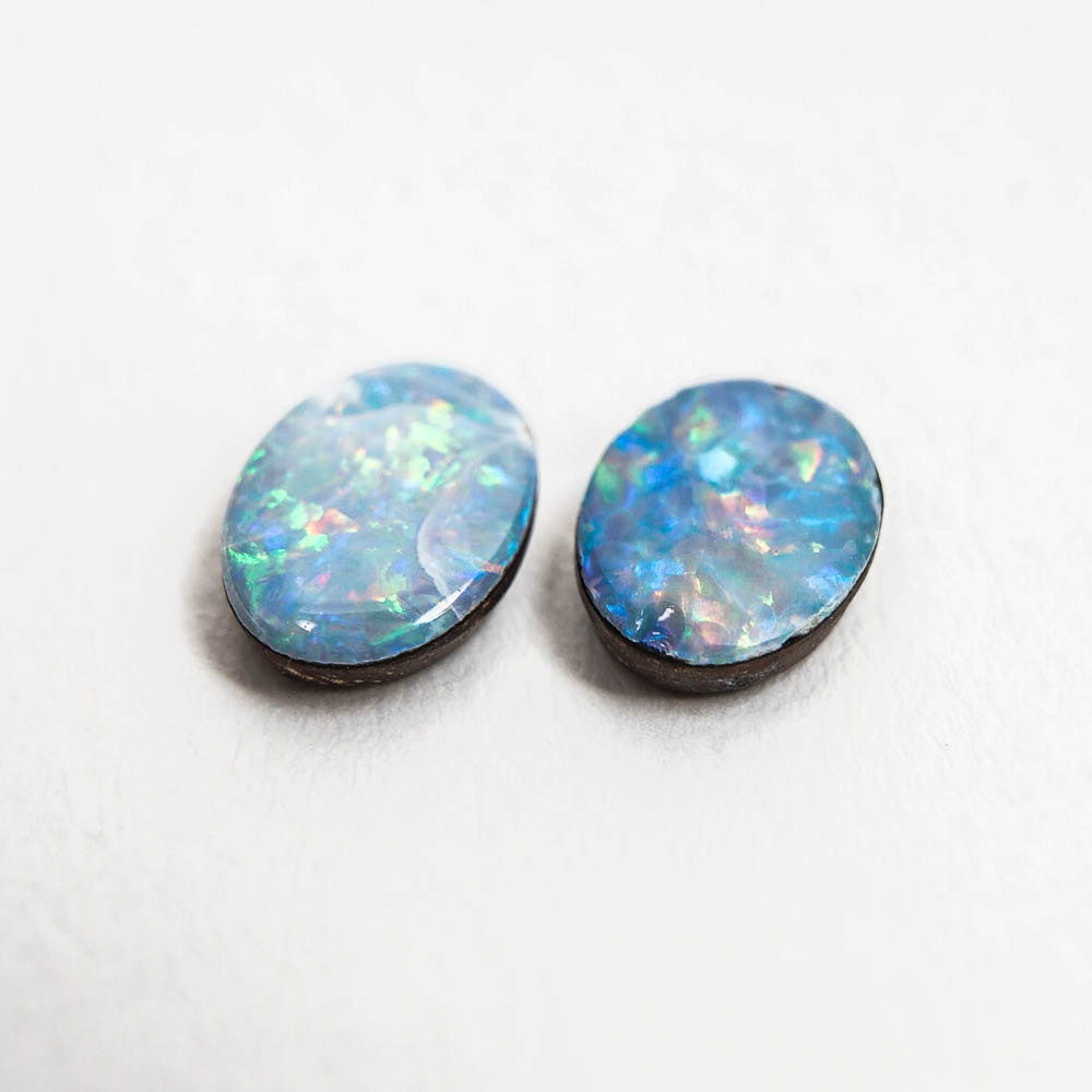 Two Oval Opal Doublet Cabochons