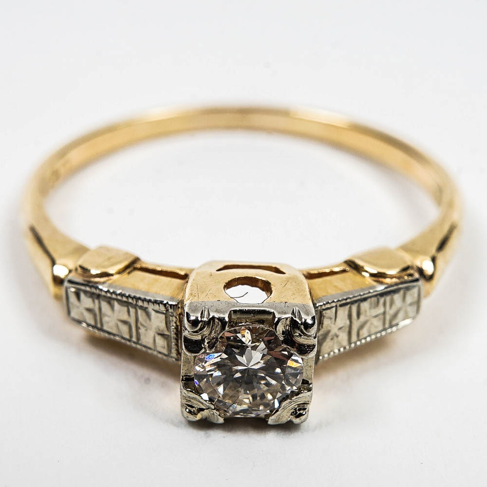 14K- 18K Two Toned Gold Diamond Ring