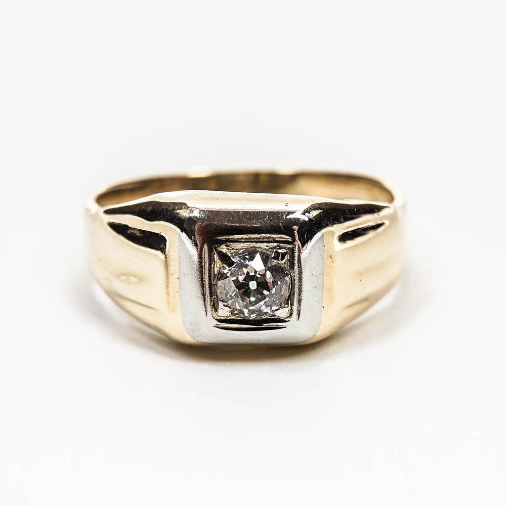 10K Yellow Gold Men's  Diamond Ring