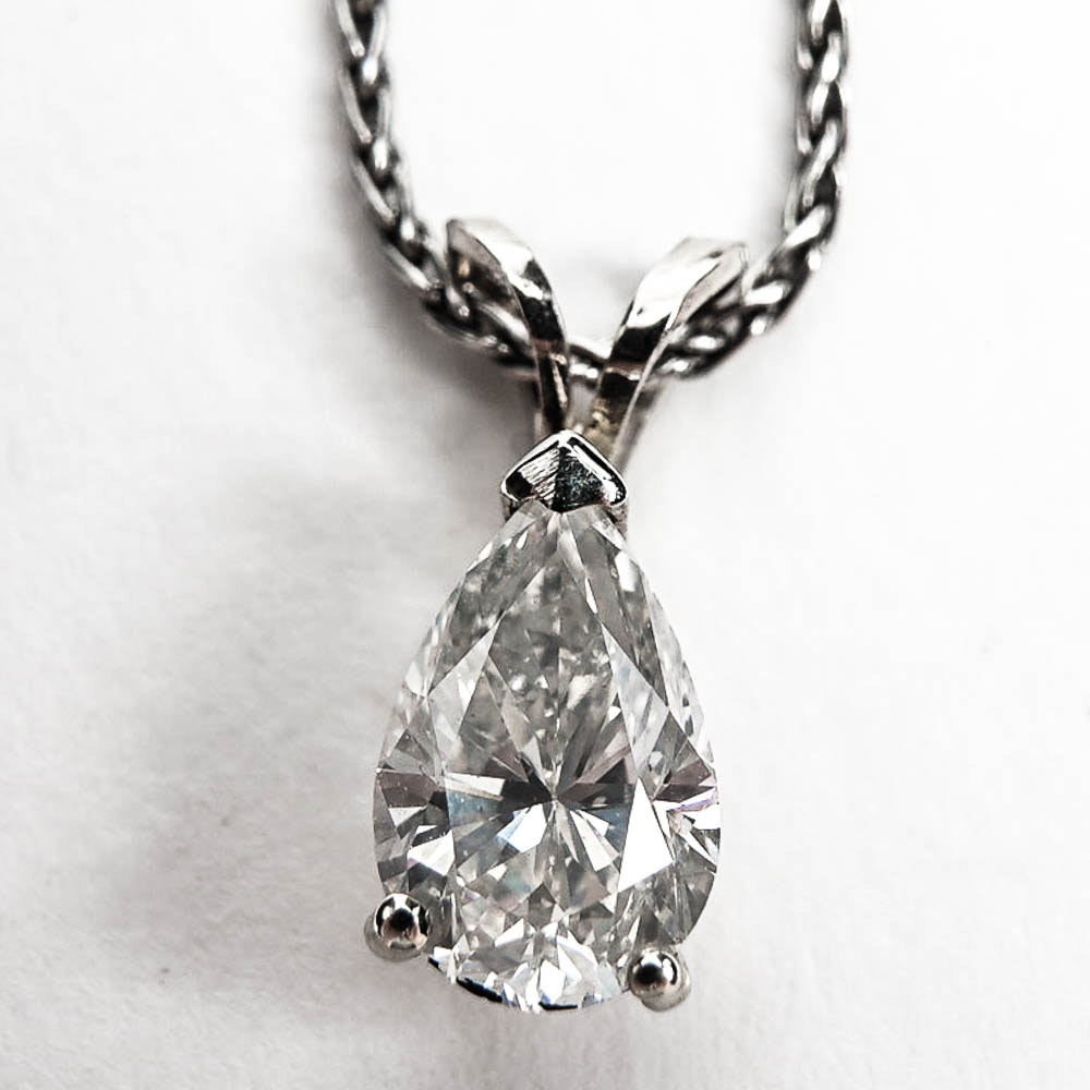 1.15 CTS Pear Cut Diamond Platinum and 14K White Gold Necklace