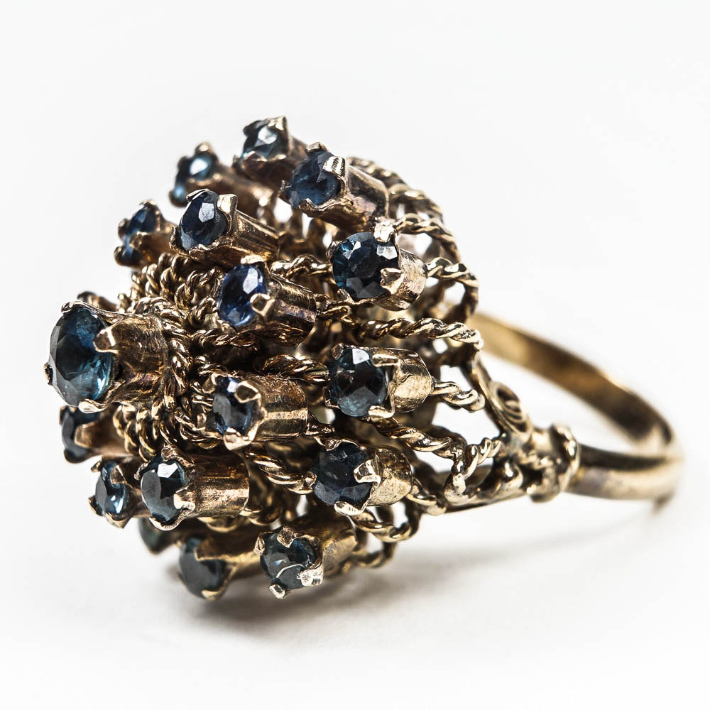 Victorian 14K Yellow Gold and 5.67 CTW Sapphire Pagoda Ring