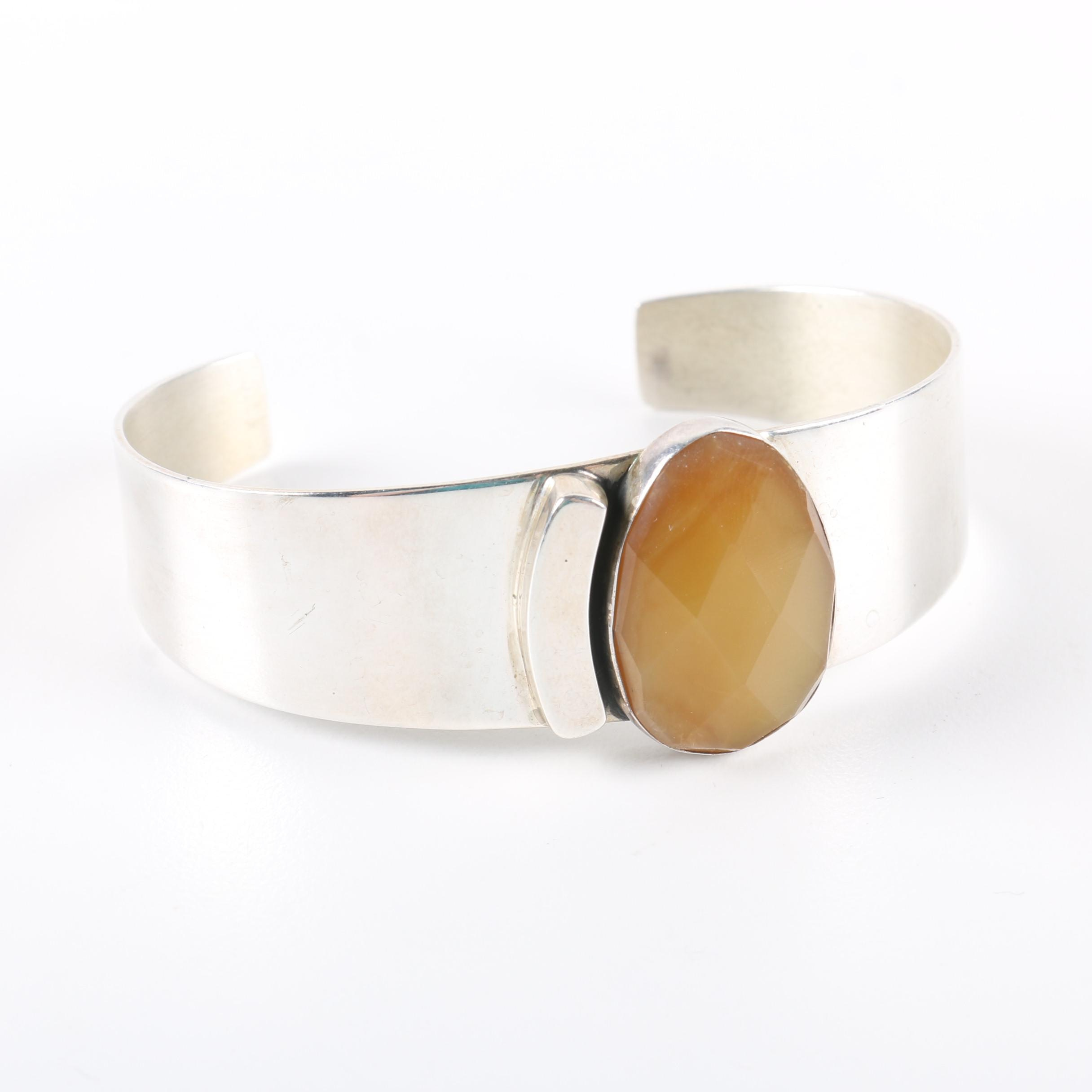 Jay King Sterling Cuff With Agate Stone