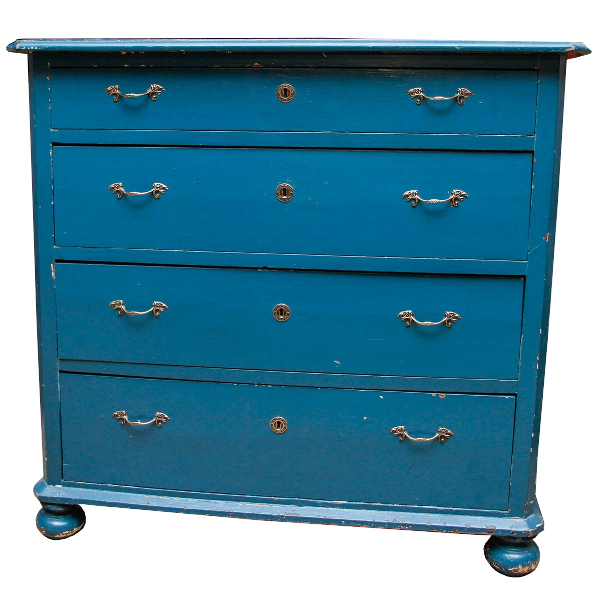 Antique Blue Painted Pine Chest of Drawers