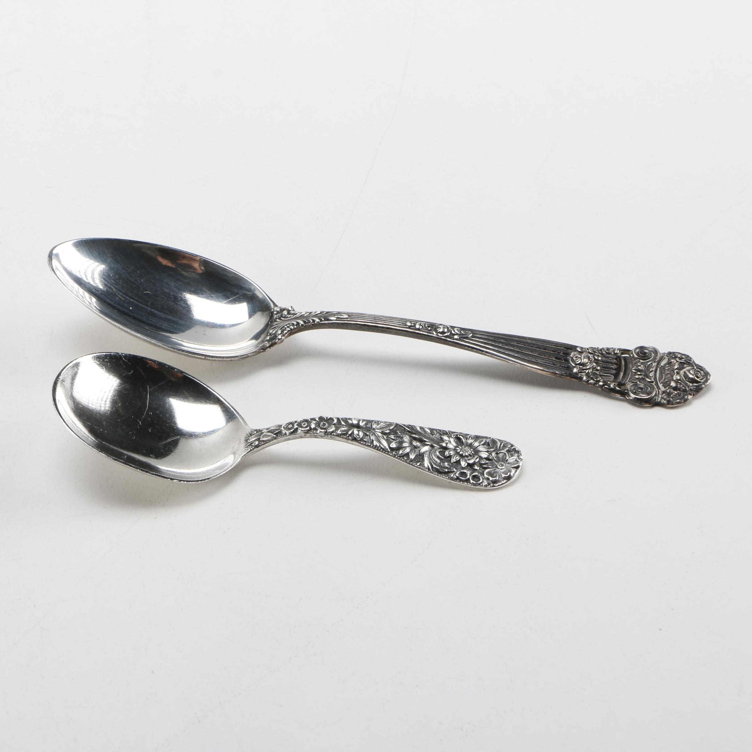"S. Kirk & Son ""Repousse"" Baby Spoon and Towle ""Georgian"" Sterling Spoon"
