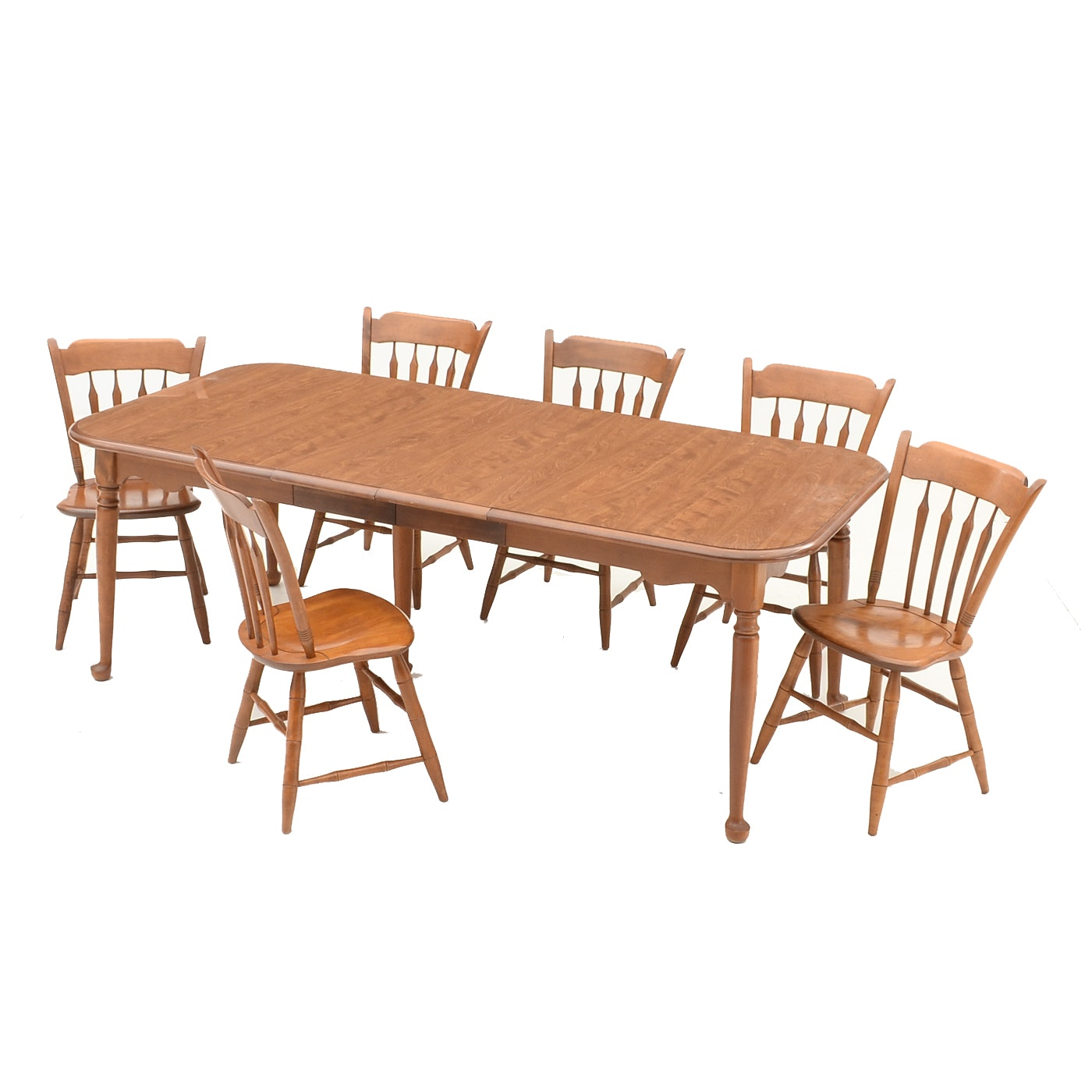 Maple Kitchen Table With Chair And Bench Ebth: Ethan Allen Maple Dining Table And Six Chairs