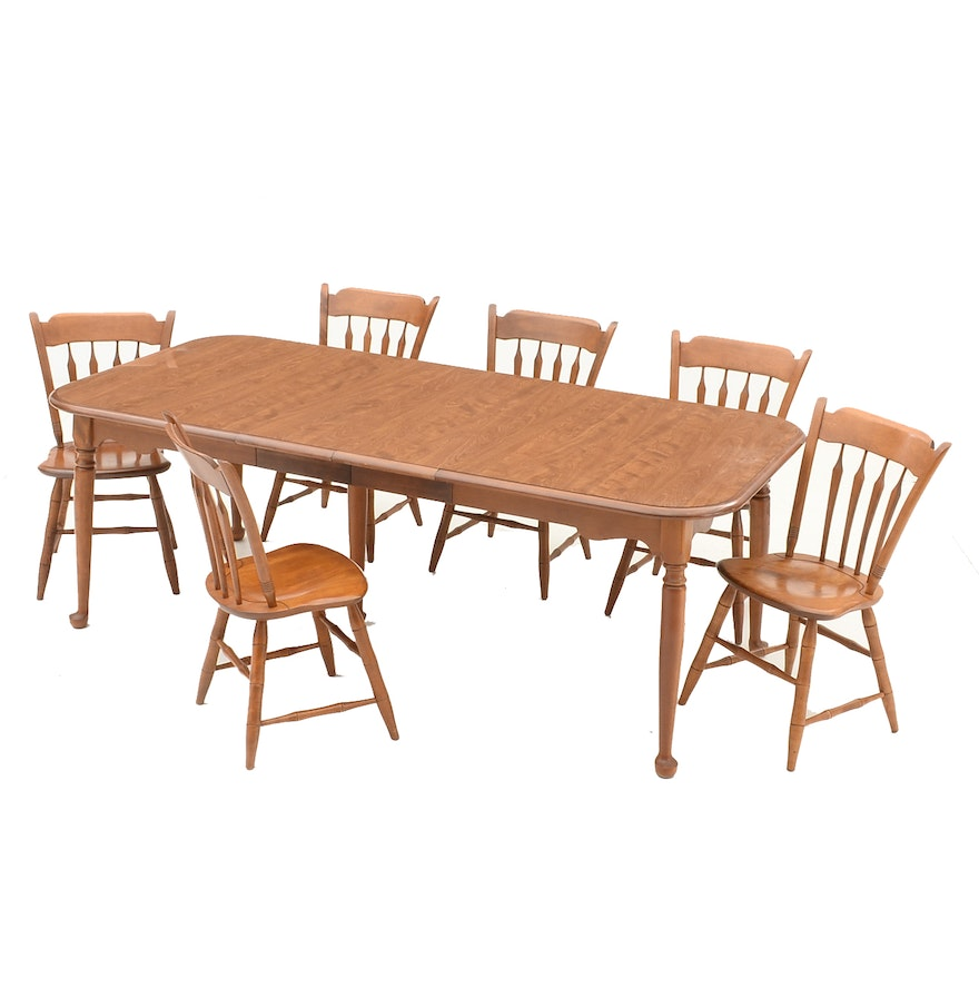 Ethan allen maple dining table and six chairs ebth for Dining table 6 chairs