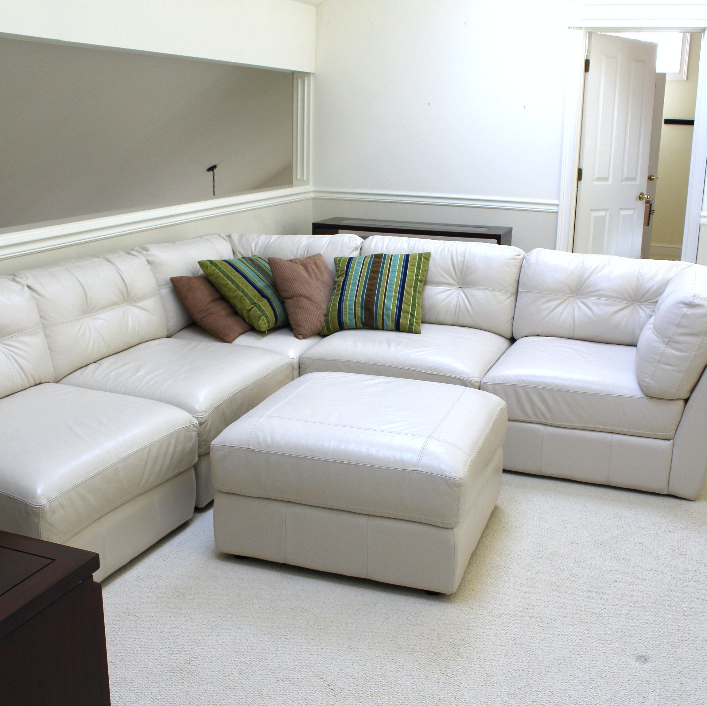 Italian Leather Sectional Sofa and Ottoman