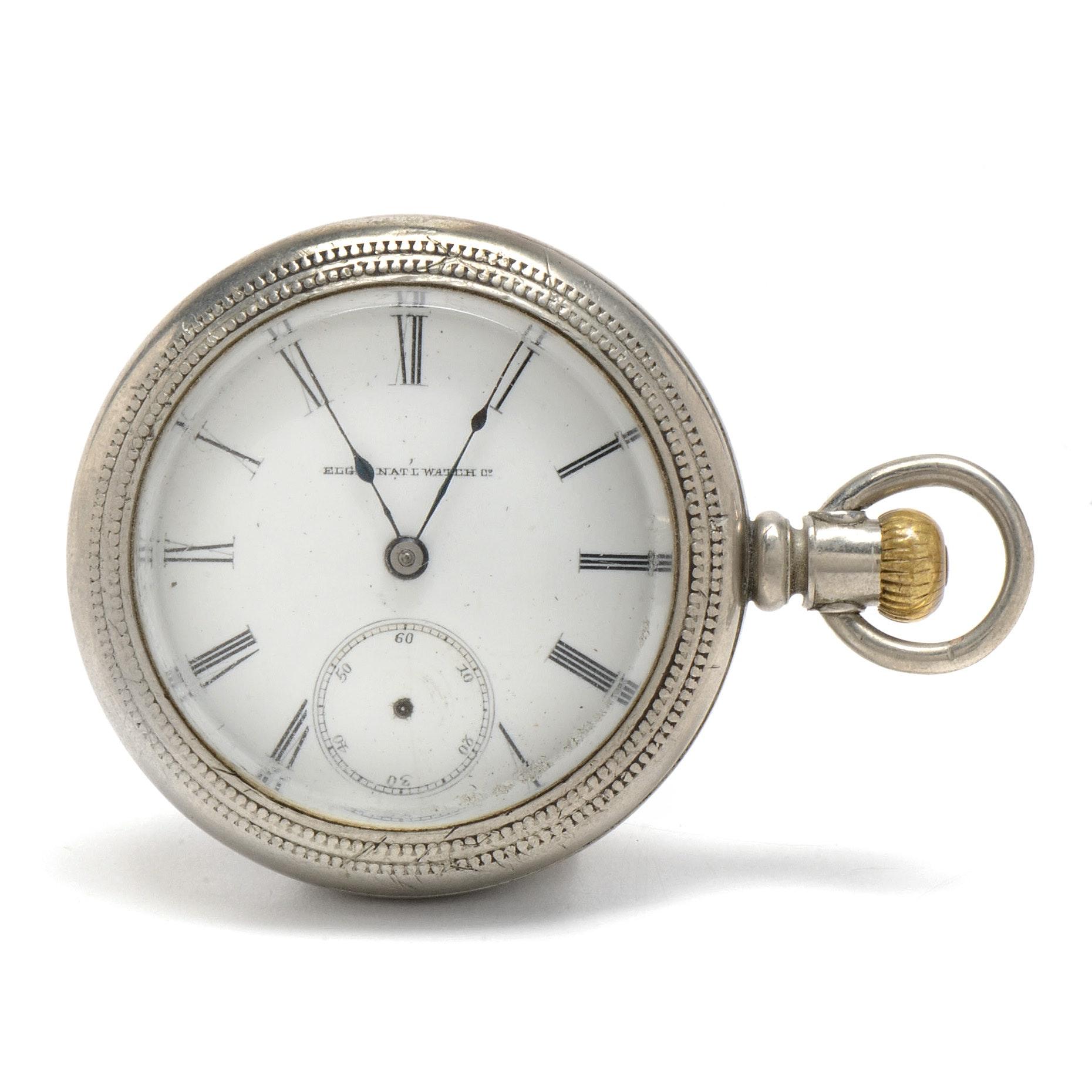 Antique Elgin Silverine Open Face Pocket Watch