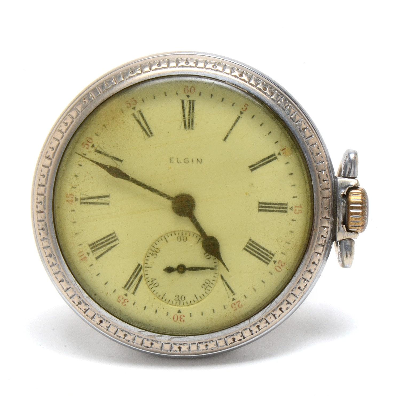 Antique Elgin Base Metal Open Face Pocket Watch