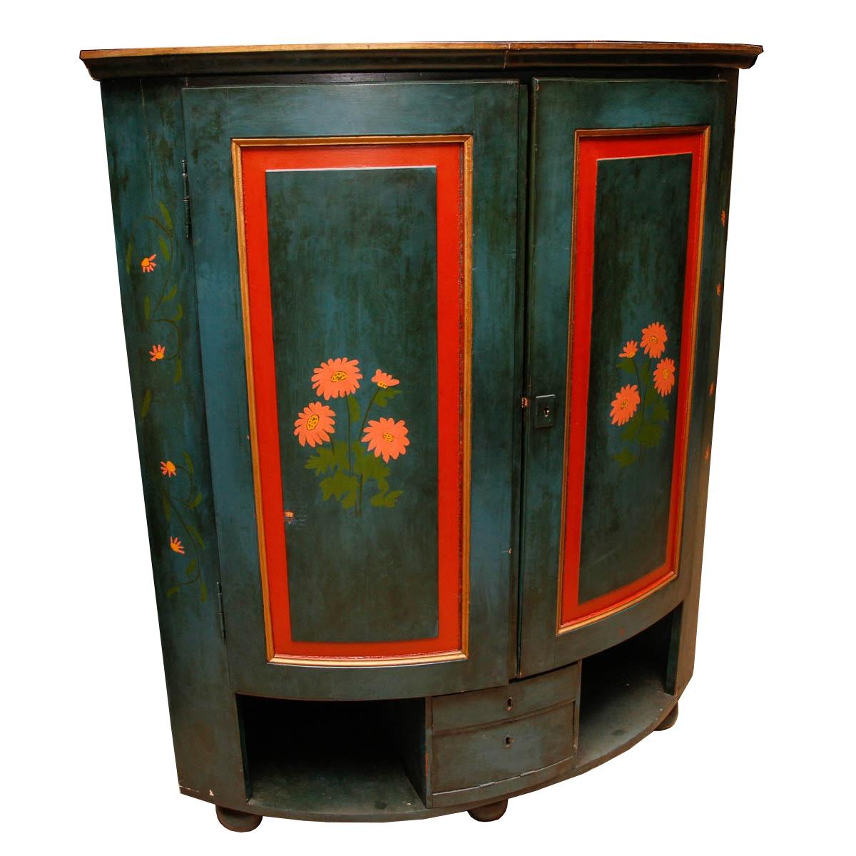Antique Paint-Decorated Corner Cupboard