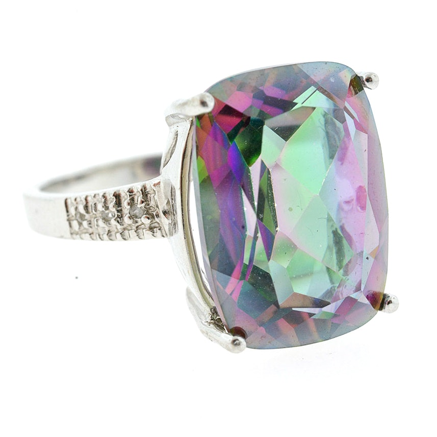 Mystic Topaz and Diamond Sterling Silver Statement Ring