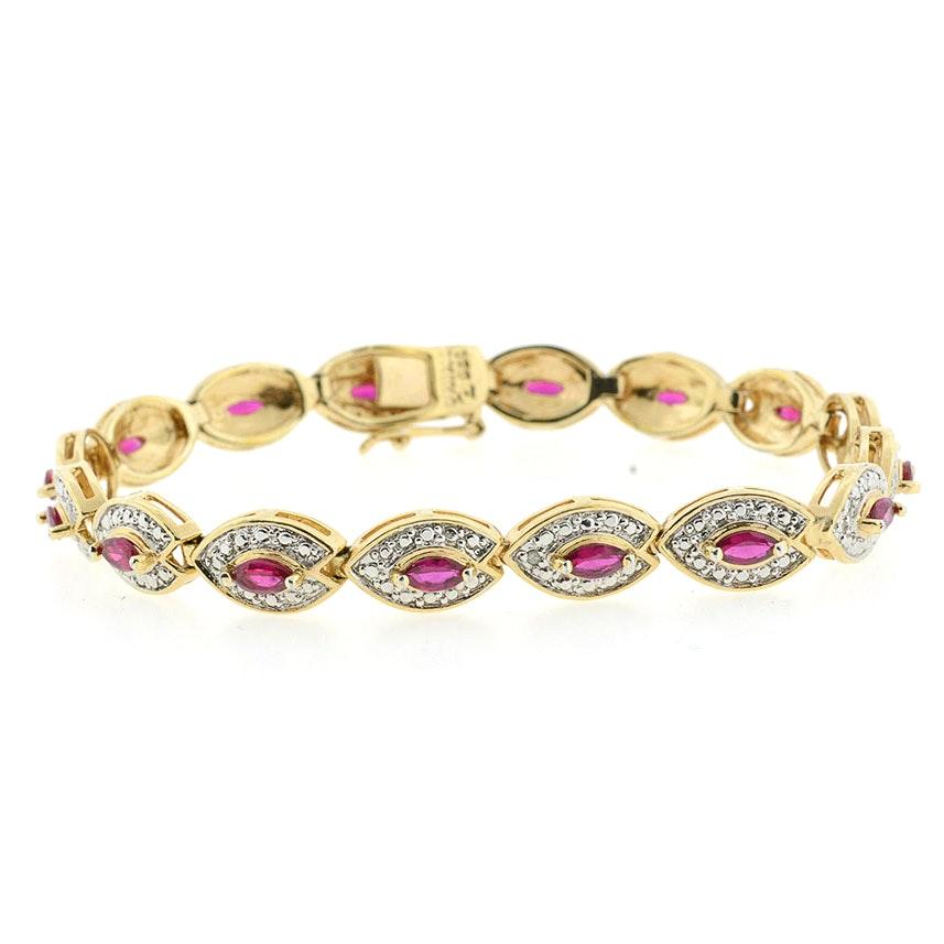 Vermeil Synthetic Ruby and Diamond Bracelet