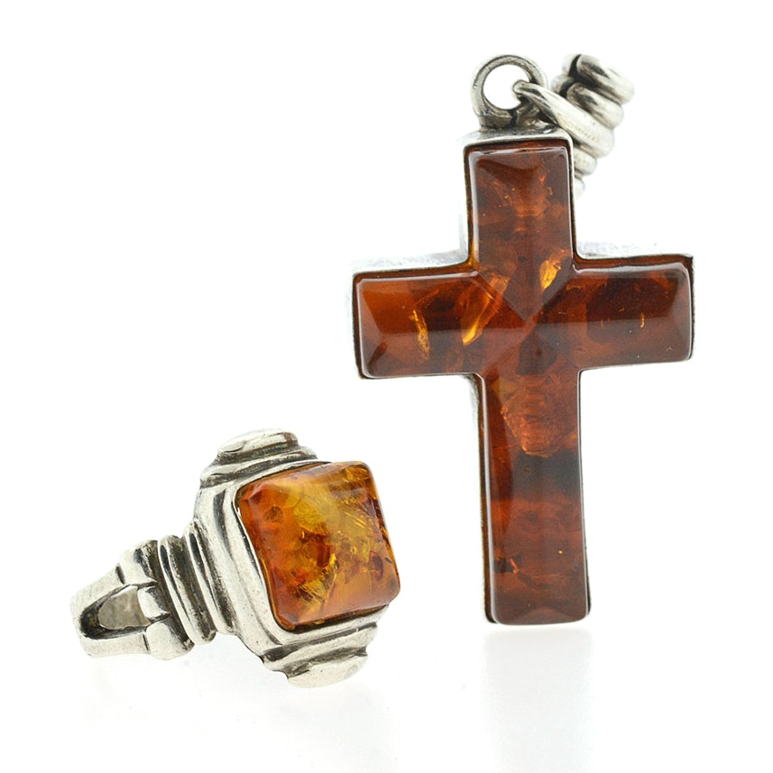 Amber and Sterling Silver Ring and Cross Pendant