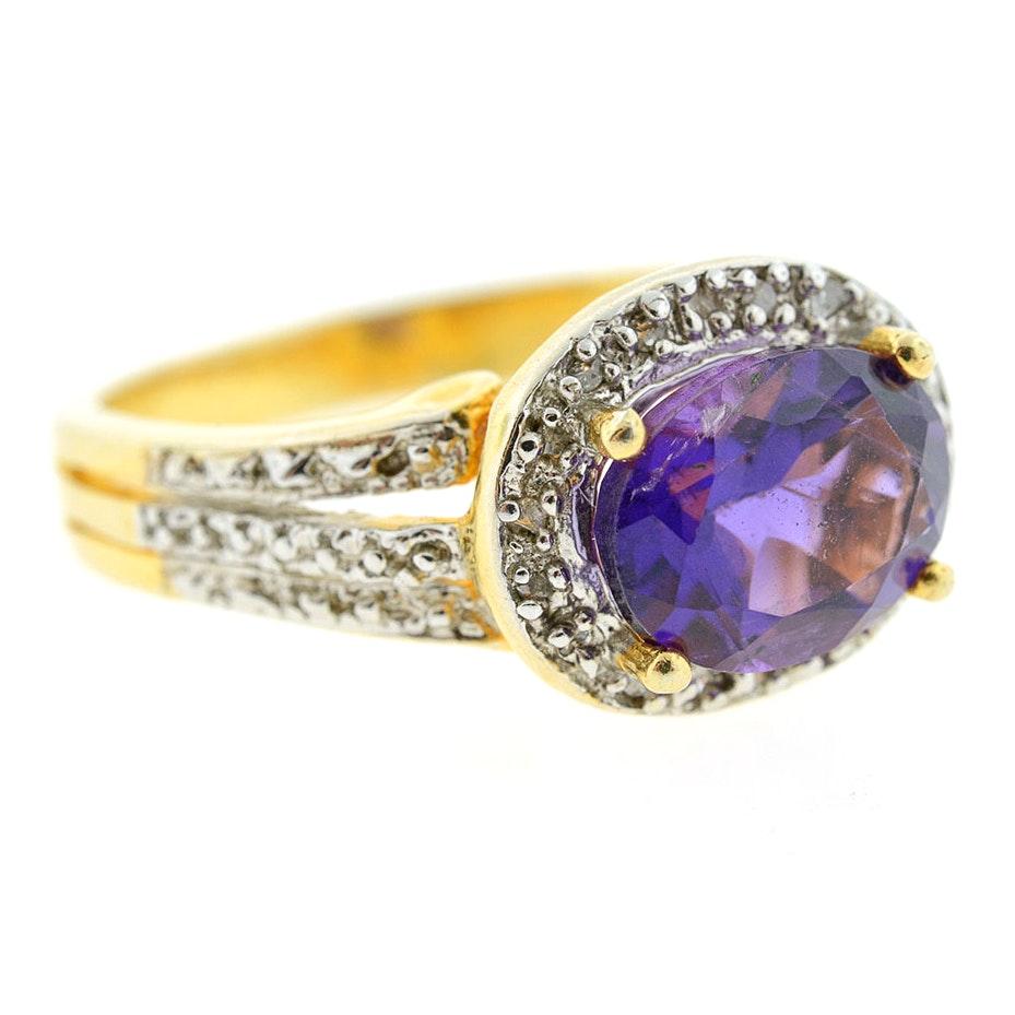 Vermeil Amethyst and Diamond Ring