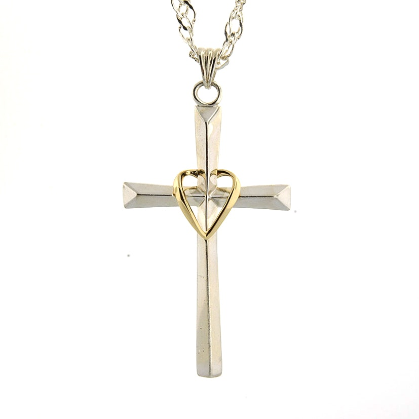 Sterling Silver and 10K Yellow Gold Cross Pendant with Chain