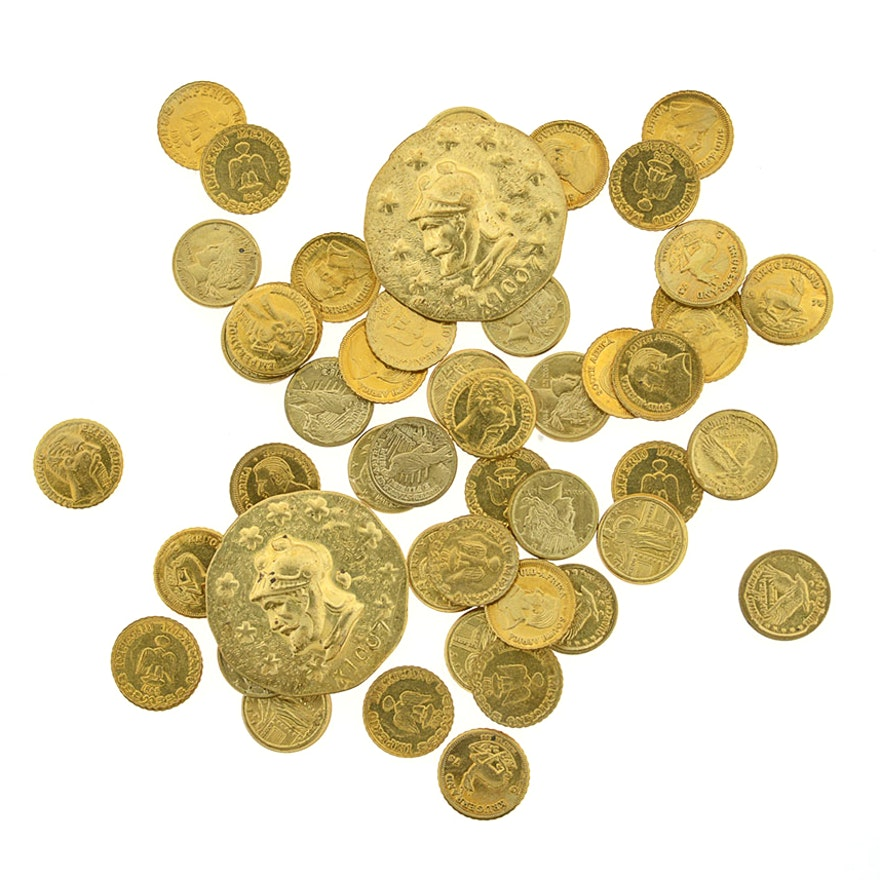 Assortment of Gold Plated Novelty Coin Copies