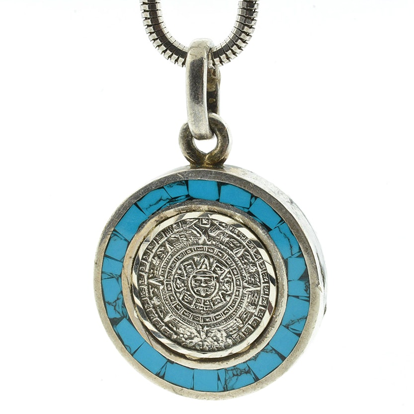 Heavy Sterling Silver and Imitation Turquoise Mayan Calendar Pendant with Chain