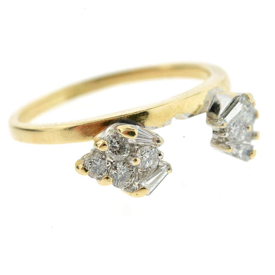 14K Yellow Gold Round and Baguette Diamond Wrap
