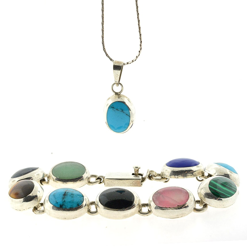 Sterling Silver and Gemstone Bracelet and Necklace