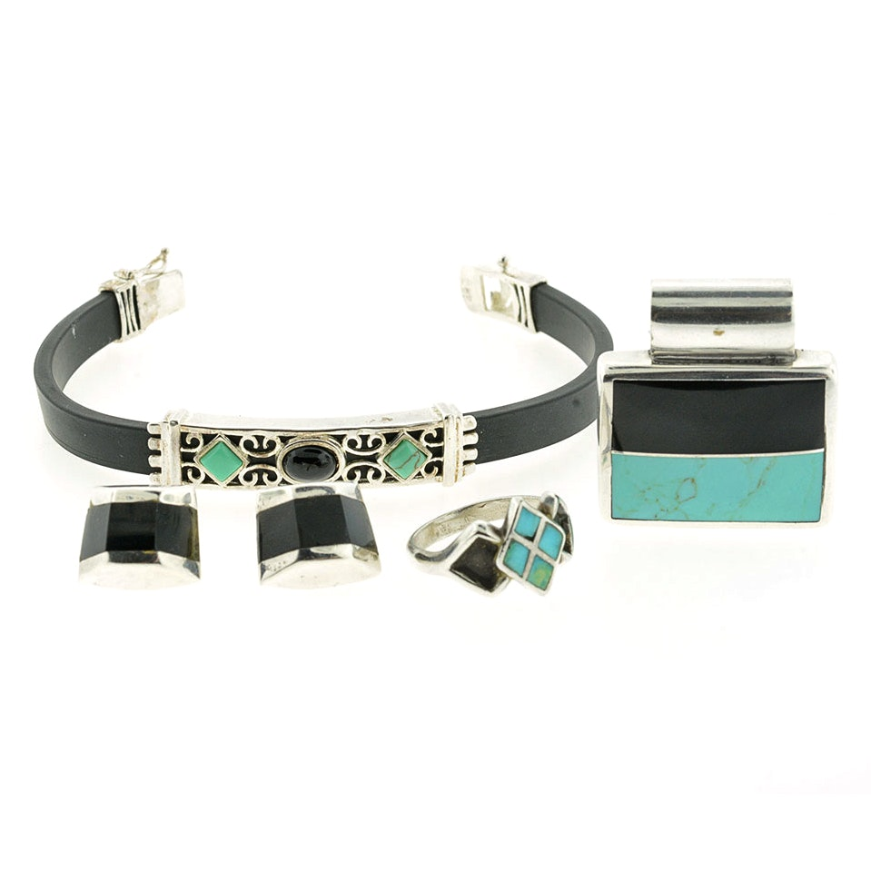 Sterling Silver with Black Onyx and Turquoise Jewelry Set