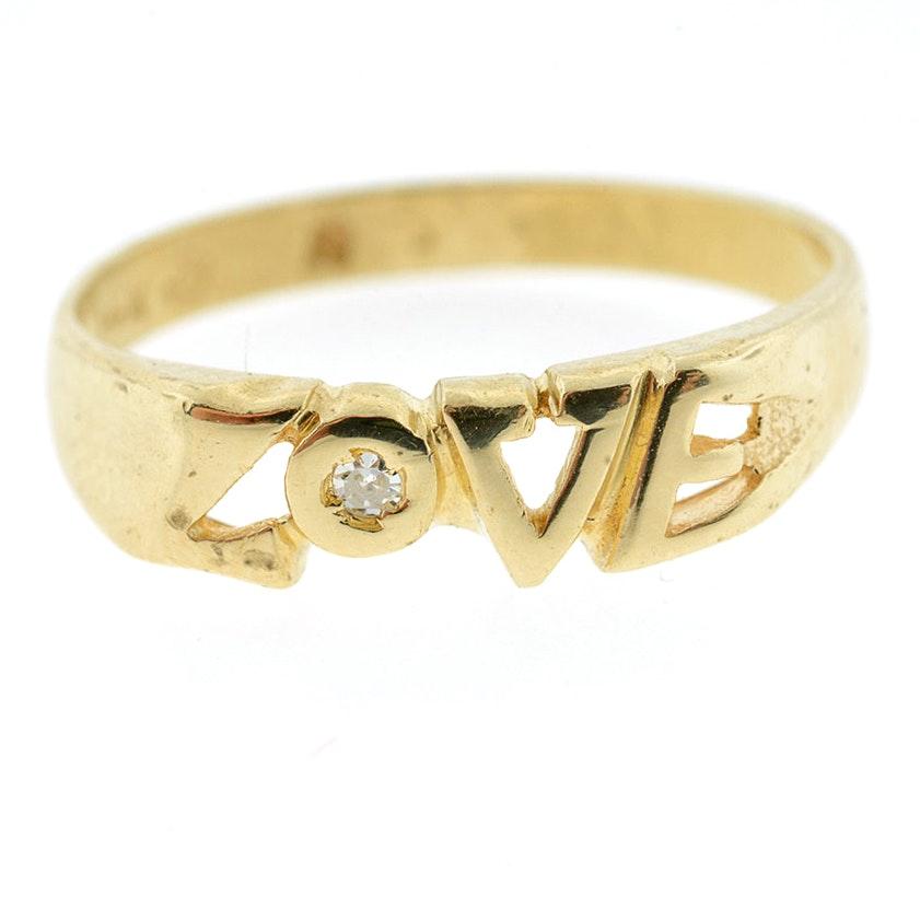"14K Yellow Gold Diamond ""Love"" Ring"