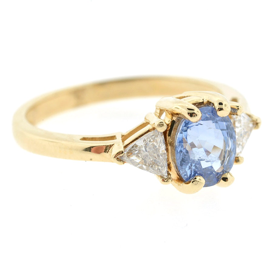 14K Gold 1.00 CTS Blue Sapphire and Two Trillion Diamond Ring